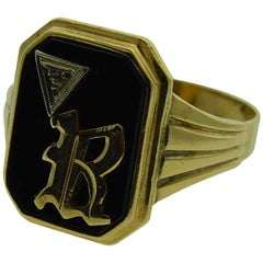 Gent's Art Deco Solid Gold Initial B Signet Ring