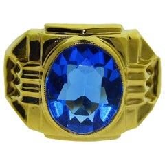Gent's Vintage Art Deco Glass Stone  Gold Ring, circa 1940s