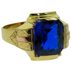 Gent's Art Deco Vintage Solid Gold Ring, circa 1940s