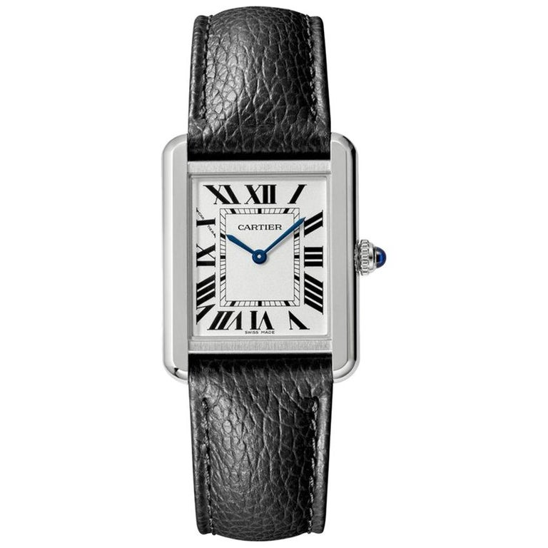 Cartier Tank Solo Watch Small Model Steel Leather For Sale