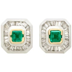 Vintage Art Deco style Emerald, Diamond, Yellow Gold and Platinum Earrings