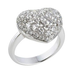 2.29 Carat Round Brilliant Cut Diamond Pavé Heart Shape Cocktail Ring