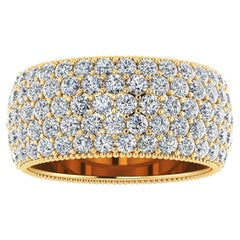 4.70 Carat Wide White Diamond Pave Ring in 18 Karat Yellow Gold