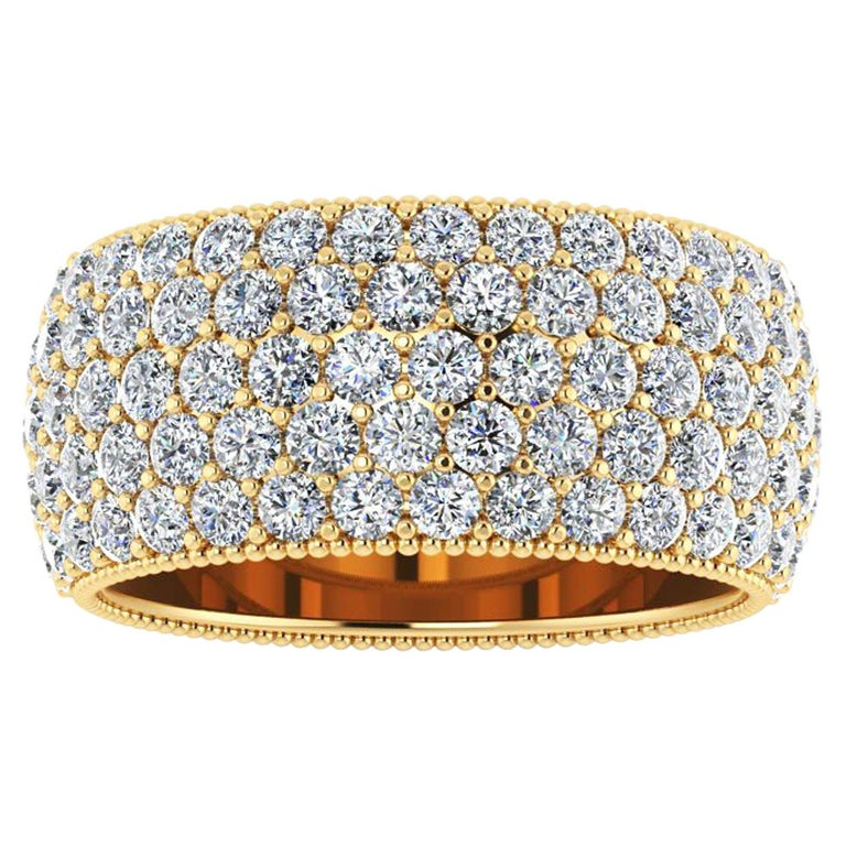 4.70 Carat Wide White Diamond Pave Ring in 18 Karat Yellow Gold For Sale