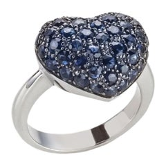 2.91 Carat Round Sapphire Pavé Heart Shape White Gold Cocktail Ring