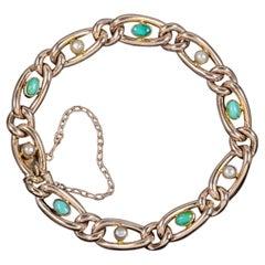 Antique Victorian Turquoise Pearl 9 Carat Rose Gold Bracelet, circa 1900