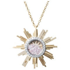 Necklace, Yellow Gold Sun 34 Grams, Diamonds Withe and Pink 2.27 Carat, Unique