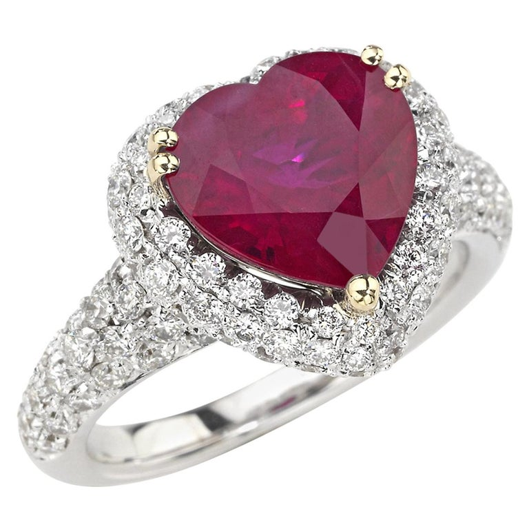 Picchiotti GRS Report 4.29 Carat Heart-shape Burma Ruby and round Diamond Ring For Sale