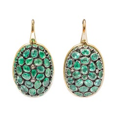 Earring of Turtle Scales, Emeralds Closed, Mounted on Silver and Gold 18 Karat