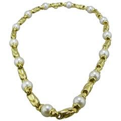"Bvlgari ""Passo Doppio"" Pearl Yellow Gold Necklace"