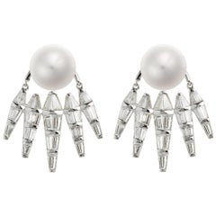 Nikos Koulis 18 Karat White Gold White Diamond and Pearl jacket earrings