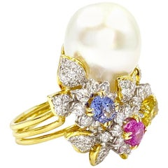 18 Karat South Sea Pearl, Diamond and Multicolored Sapphire Cocktail Ring