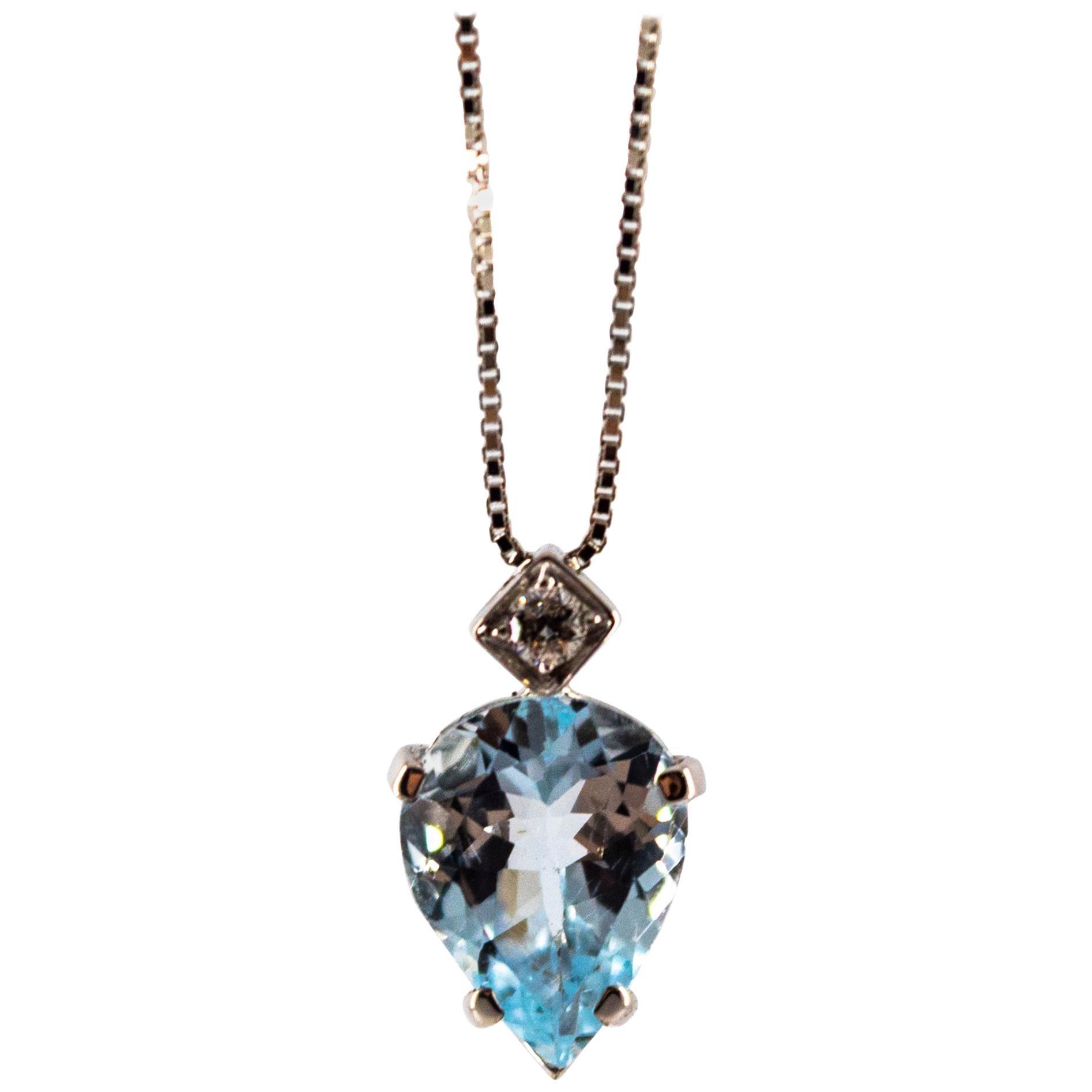 Art Deco Style 1.20 Carat Aquamarine 0.03 Carat  Diamond White Gold Necklace