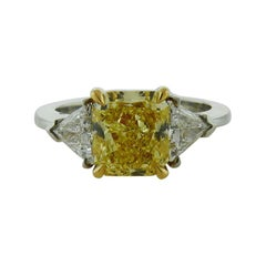 GIA Certified 3.03 Carat Fancy Intense Yellow Diamond Ring