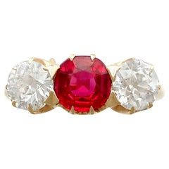 Antique 1.10 Carat Diamond and Synthetic Ruby Yellow Gold Trilogy Ring