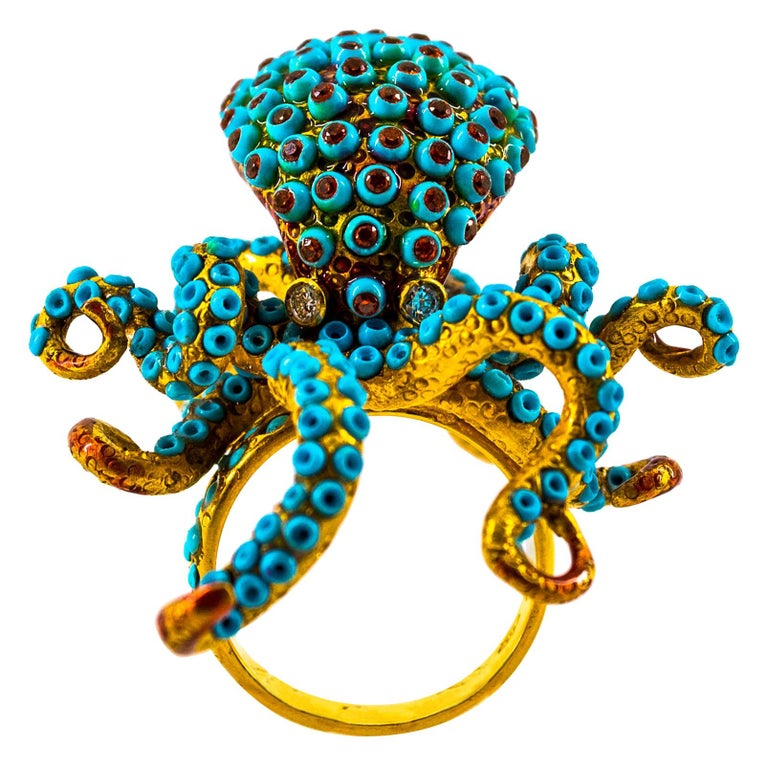 """1.12 Carat White Diamond Garnet Turquoise Yellow Gold """"Octopus"""" Cocktail Ring For Sale"""