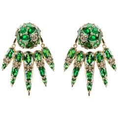 Nikos Koulis 18 Karat Yellow Gold Tsavorite and Brown Diamonds jacket earrings
