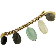 29.30 Gram Multi-color Hard Stones 18 Karat Yellow Gold Charms Bracelet