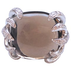 Berca 27Kt Smoky Quartz Cushion Cut 2.20 Carat White Diamond Cocktail Ring