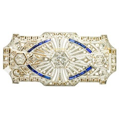1.07 Carat 18 Karat White Gold Diamond Blue Sapphire Art Deco Brooch