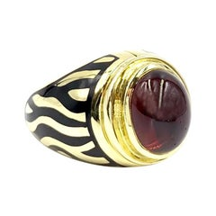 Mavito 18 Karat Zebra Enamel and Garnet Ring