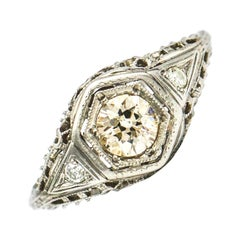.74 Carat Diamond Platinum Filigree Art Deco Engagement Ring