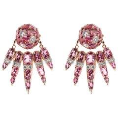 Nikos Koulis 18 Karat Rose Gold Pink Tourmaline & White Diamond Jacket Earrings