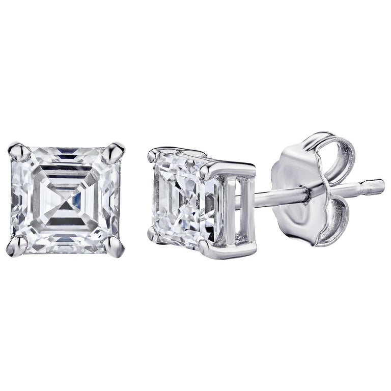 dc98dc556 Gia Certified Platinum Ascher Cut Diamond Studs 0.50 Carat Total For Sale