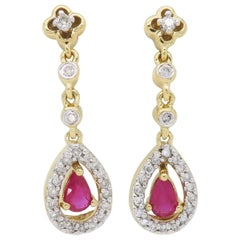 Diamond and Ruby Halo Drop Earrings