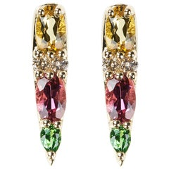 Nikos Koulis K18 Yellow Gold Tourmaline Tsavorite Yellow Beryl Stud Earrings