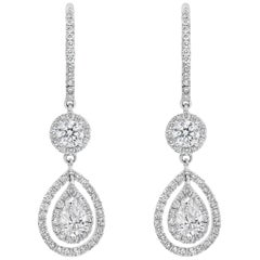 Open Work Diamond Double Halo Dangle Earrings