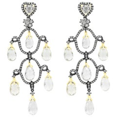 Briolette Sapphire and Diamond Chandelier Earrings