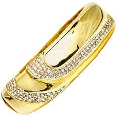 2.18 Carat 14 Karat Gold Pavé Diamond Wide Bangle Bracelet