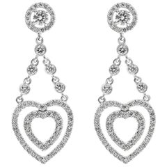 Open Heart Diamond Dangle Earrings