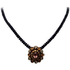Marina J Blue and Black Faceted Spinnel Beaded Rope Necklace with 14K Gold Clasp