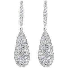 6.33 Carat Micro-Pave Set Diamond Teardrop Dangle Earrings