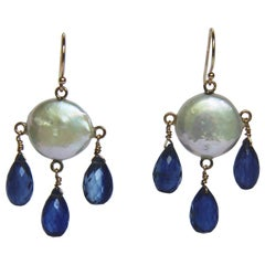 White Coin Pearl and Kyanite Drop Earrings with 14 Karat Yellow Gold Hooks