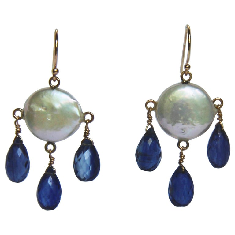 White Coin Pearl and Kyanite Drop Earrings with 14 Karat Yellow Gold Hooks 1