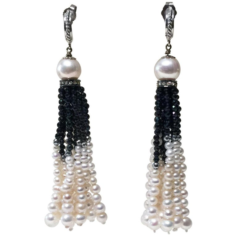 Black Spinel and White Pearl Tassel Earrings with 14 Karat White Gold and Silver For Sale