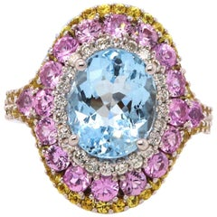 Aquamarine, Pink Sapphire, Yellow Sapphire and Diamond Ring