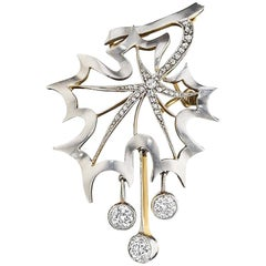 Diamond, Gold and Platinum Maple Leaf Brooch