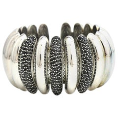 John Hardy Sterling Silver Black Sapphire Bedeg Lava Flex Cuff Bracelet