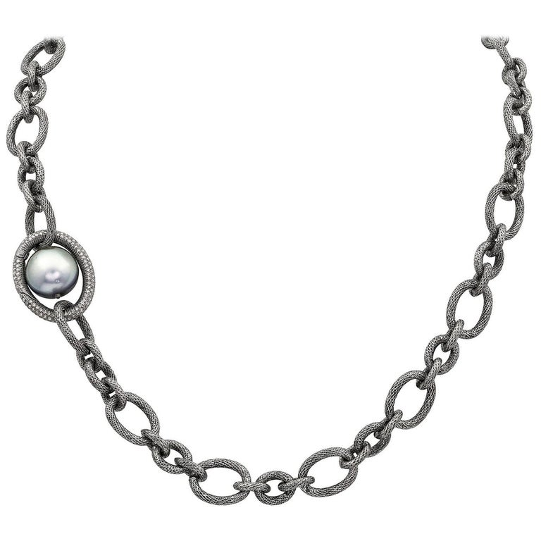 Tahitian Pearl Diamond Clasp Multifunctional Necklace, Lariat, and Bracelet