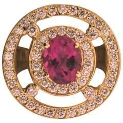 18 Karat Yellow Gold, Tourmaline '1.81 Carat' and Diamond '1.66 Carat' Ring