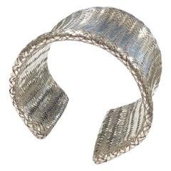 Angela Cummings Large Woven Mesh Sterling Cuff Bracelet