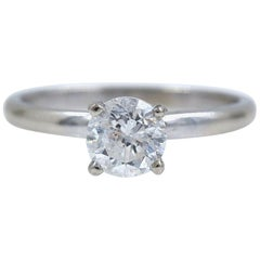 Diamond Engagement Ring Round 1.00 Carat 14 Karat White Gold