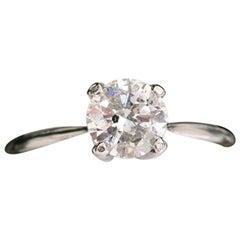 Diamond Engagement Ring Round 1.07 Carat 14 Karat White Gold