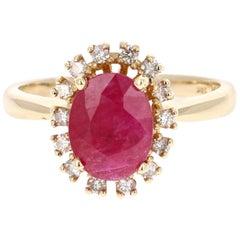2.30 Carat Oval Cut Ruby Diamond 14 Karat Yellow Gold Ring