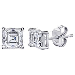 GIA Certified Platinum Ascher Cut Diamond Studs 0.75 Carat Total