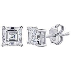GIA Certified Platinum Ascher Cut Diamond Studs 0.75 Carat Total